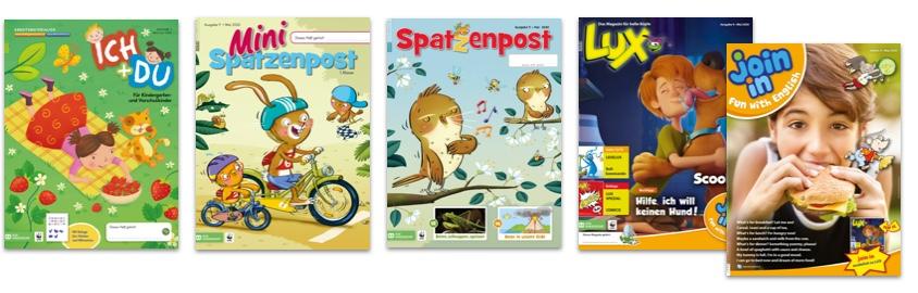 Schülerzeitschriften ICH+DU, Mini-Spatzenpost, Spatzenpost, LUX + join in